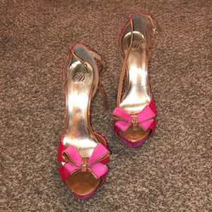Shoes - Red and pink heels w/ bow, size 10!